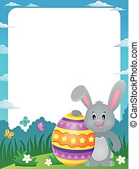 Frame with stylized bunny and Easter egg