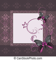 Frame with stylized butterflies