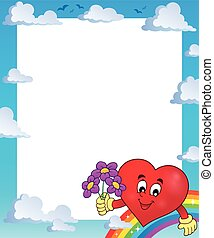 Frame with stylized heart theme 1