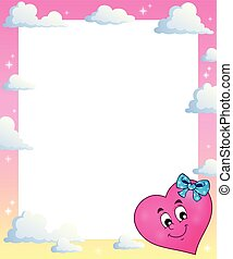 Frame with stylized heart theme 2