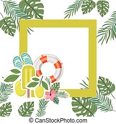 frame with summer objects in leaves background