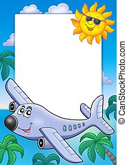 Frame with Sun and airplane - color illustration.