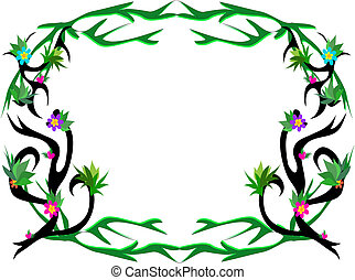 Frame with Tattoo Style Vines and F