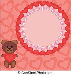 frame with teddy bear and hearts