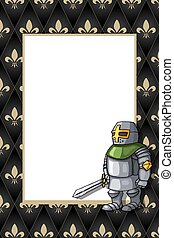 Frame with the brave knight with sword on the medieval background