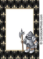Frame with the knight with pike on the medieval background