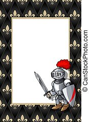 Frame with the knight with sword and shield on the medieval background