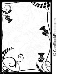 frame with thistle and scorpion - vector frame with thistle...