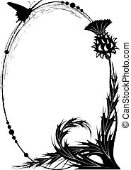 frame with thistle - vector frame with thistle and butterfly...