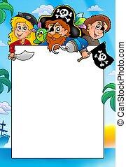 Frame with three cartoon pirates - color illustration.