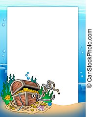 Frame with treasure chest in sea - color illustration.