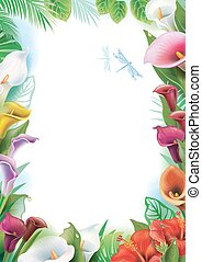 Frame with tropical flowers