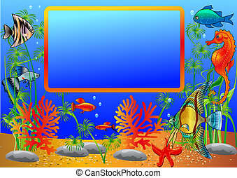 frame with undersea fish and algae - illustration frame with...