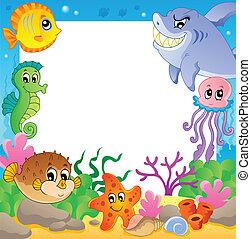 Frame with underwater animals 2 - vector illustration.