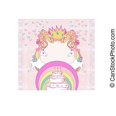 Frame with unicorns and birthday cake