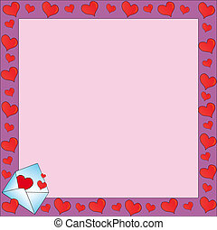 Frame with valentines letter