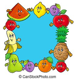 Frame with various cartoon fruits - color illustration.
