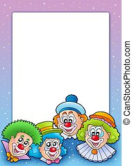 Frame with various clowns - color illustration.