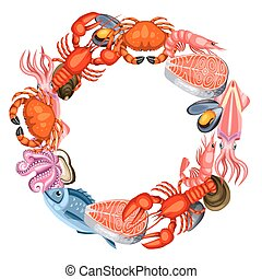 Frame with various seafood. Illustration of fish, shellfish...