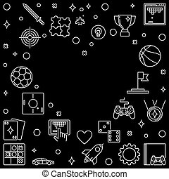 Frame with Video Game outline icons in Heart shape