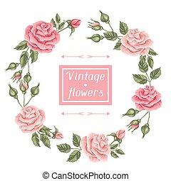 Frame with vintage roses