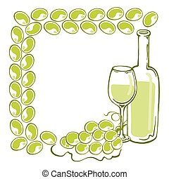 Frame with wine bottle, goblet and grape, vector...