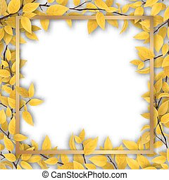 Frame with yellow autumn leaves