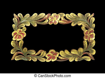 frame wooden isolated on black background