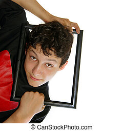 Framed boy with space for copy
