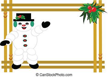 Framed Christmas Snowman