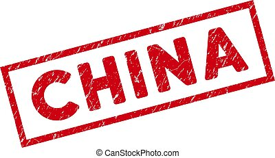 Framed Grunge China Rectangular Stamp