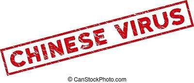 Framed Grunge Chinese Virus Rectangular Watermark