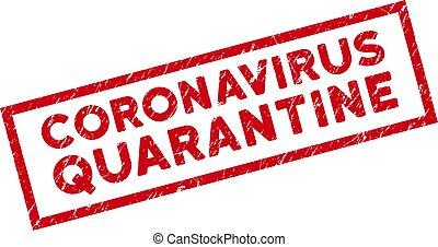 Framed Grunge Coronavirus Quarantine Rectangle Stamp Seal