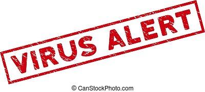 Framed Grunge Virus Alert Rectangular Stamp Seal