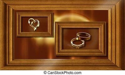 Framed heart and wedding rings