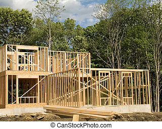 Framed House - This is a shot of a new house being framed.
