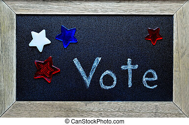 Framed message saying Vote