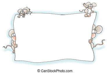 Framed mice, cute fun, balancing