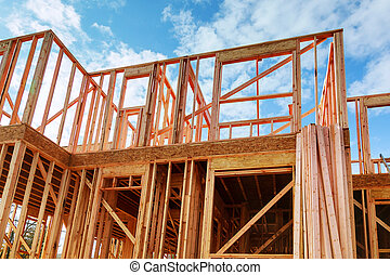 Framed New Construction of a House Building a new house framing of a home, full frame