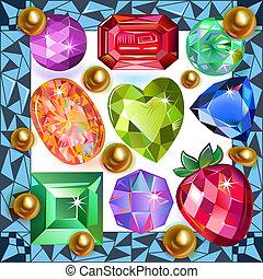 Framed picture precious stones