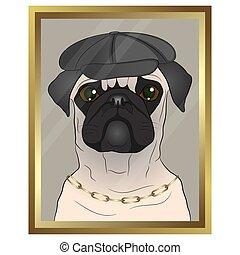 framed portrait of a pug.