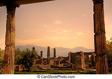 Framed ruins of Pompeii, Italy - Ruins of Pompeii at sunset...