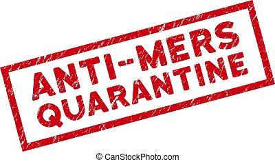 Framed Scratched Anti-Mers Quarantine Rectangular Stamp