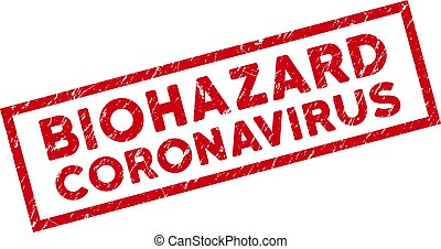 Framed Scratched Biohazard Coronavirus Rectangle Stamp