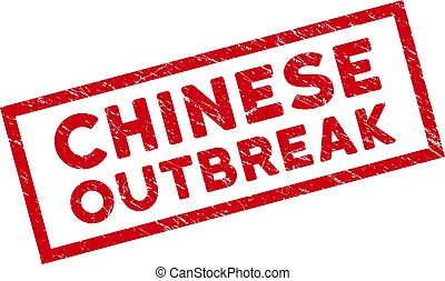 Framed Scratched Chinese Outbreak Rectangle Watermark