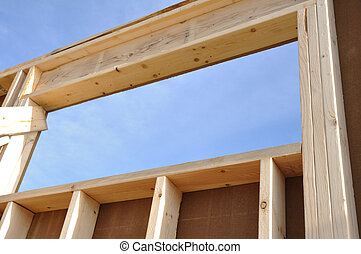 Wall and Window of House at Construction Site