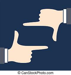 Framed with hand gestures Illustration - Framed with hand...