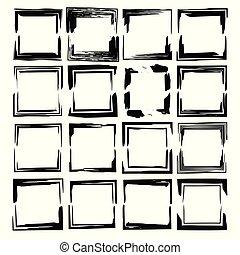 frames., グランジ, 黒, セット, ベクトル, empy, illustration.