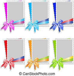 frames and bow - A set of frames for photos with satin...