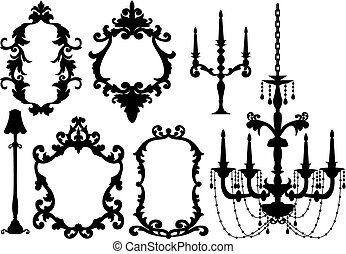 frames and chandelier - antique picture frames and crystal...